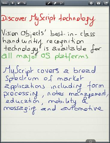 Myscript Memo für das iPad (Bild: Vision Objects)