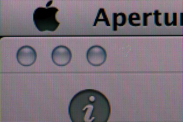 Retina-Display von Nahem. Bildeindruck: 1.920 x 900 bei 2.880 x 1.800 Pixeln. Hier skaliert Mac OS X.