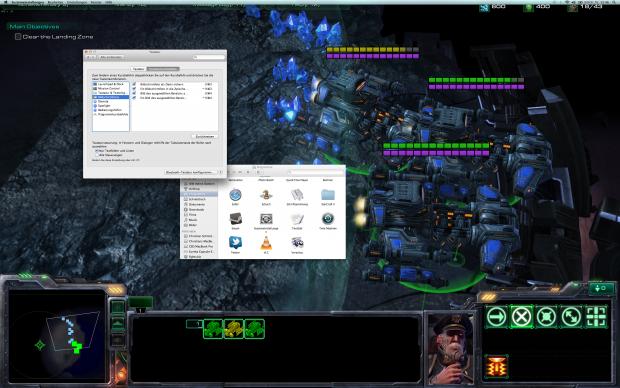 Mit einem Trick (Windowed Fullscreen) lässt sich Mac OS X dazu bringen, die volle Auflösung als Nutzfläche anzubieten. Der Nutzer kann damit noch arbeiten, es ist aber anstrengend.