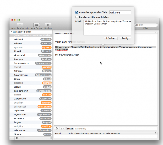 Textexpander 4.0 mit optionalem Textelement (Screenshot: Golem.de)