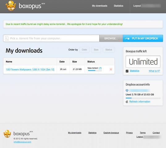 Boxopus als Bindeglied zwischen Torrents und der Dropbox (Screenshot: Golem.de)