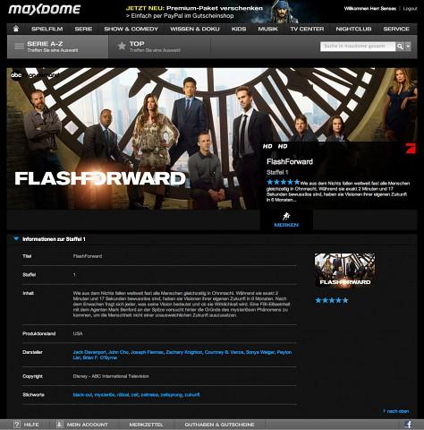 Maxdome bietet ABC-Serien wie Flashforward nun auch in Englisch und teils in HD an (Screenshot: Golem.de)
