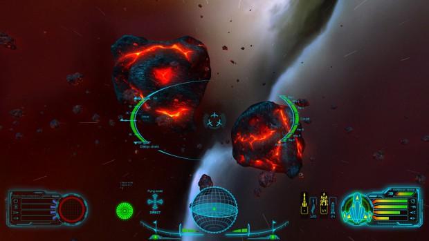 Skyjacker - Anflug auf einen großen Lava-Asteroiden (Bild: Digitilus)