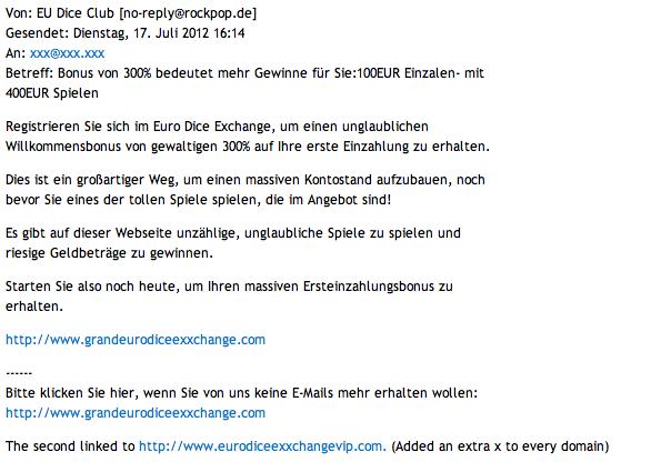 Auszug der Spam-Mail an Dropbox-Nutzer