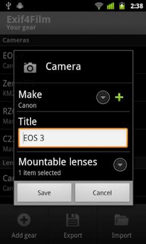 Kameramodell festlegen - Exif4Film (Bild: Codeunited)