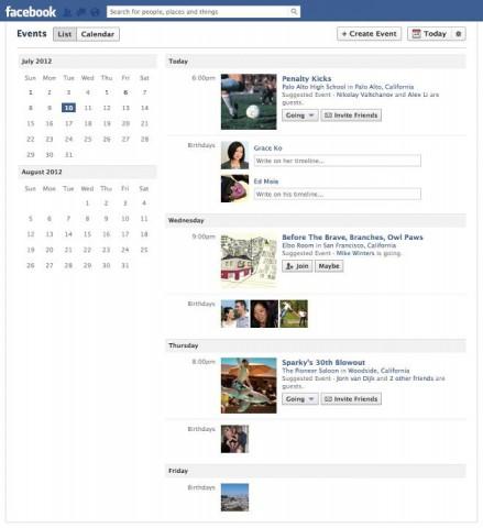 Oben links auf der Event-Seite kann zwischen der Listen- und der Kalenderansicht umgeschaltet werden. (Quelle: Facebook.com)