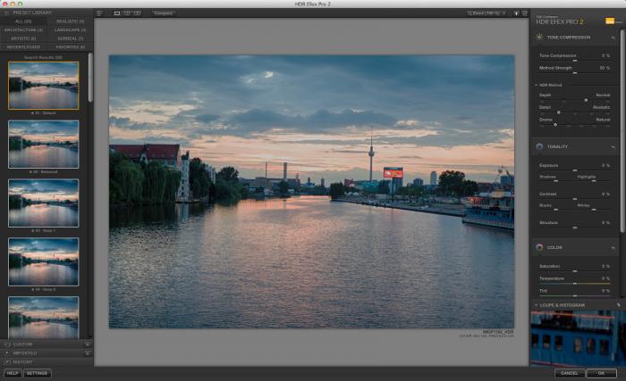 Die Standardeinstellung nach dem Zusammenfügen der Bilder in HDR Efex Pro 2 (Bild: Andreas Donath)