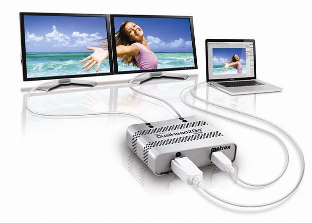 Matrox' DualHead2Go Digital Mac Edition (ME) - für bis zu zwei externe Displays am Thunderbolt-/Mini-Displayport-bestückten Mac (Bild: Matrox)