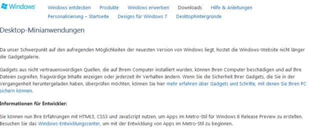 Hinweistext nach der Abschaltung der Gadget-Gallery durch Microsoft.