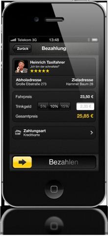 Taxifahrt direkt aus der Mytaxi-App bezahlen
