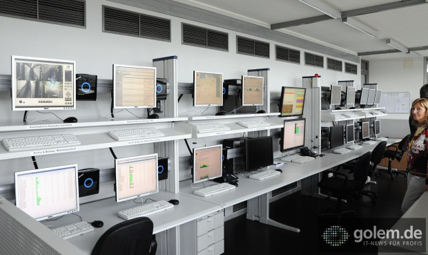 Der Kontrollraum für das Rechnergebäude.