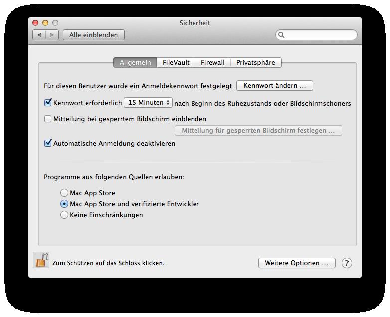 Mac OS X 10.8 Mountain Lion im Test: Apples Desktop-iOS mit komplizierter iCloud - Gatekeeper-Optionen in der Standardeinstellung.