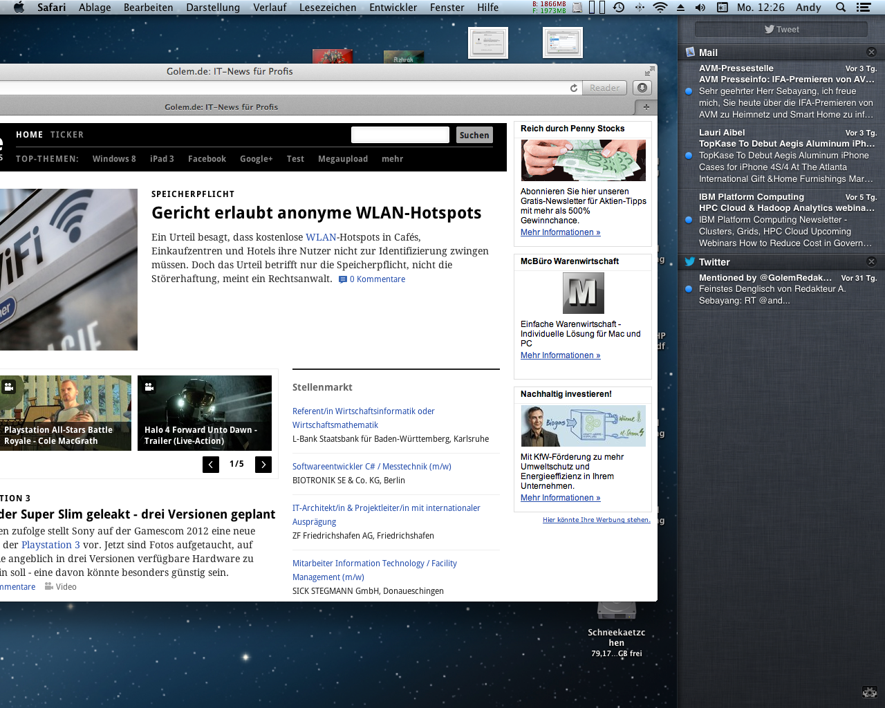 Mac OS X 10.8 Mountain Lion im Test: Apples Desktop-iOS mit komplizierter iCloud - Benachrichtigungen gibt es an der Seite.