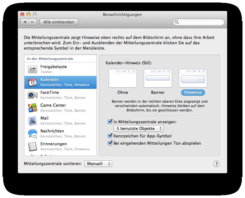 Mac OS X 10.8 Mountain Lion im Test: Apples Desktop-iOS mit komplizierter iCloud - Einstellungen zu den Benachrichtigungen