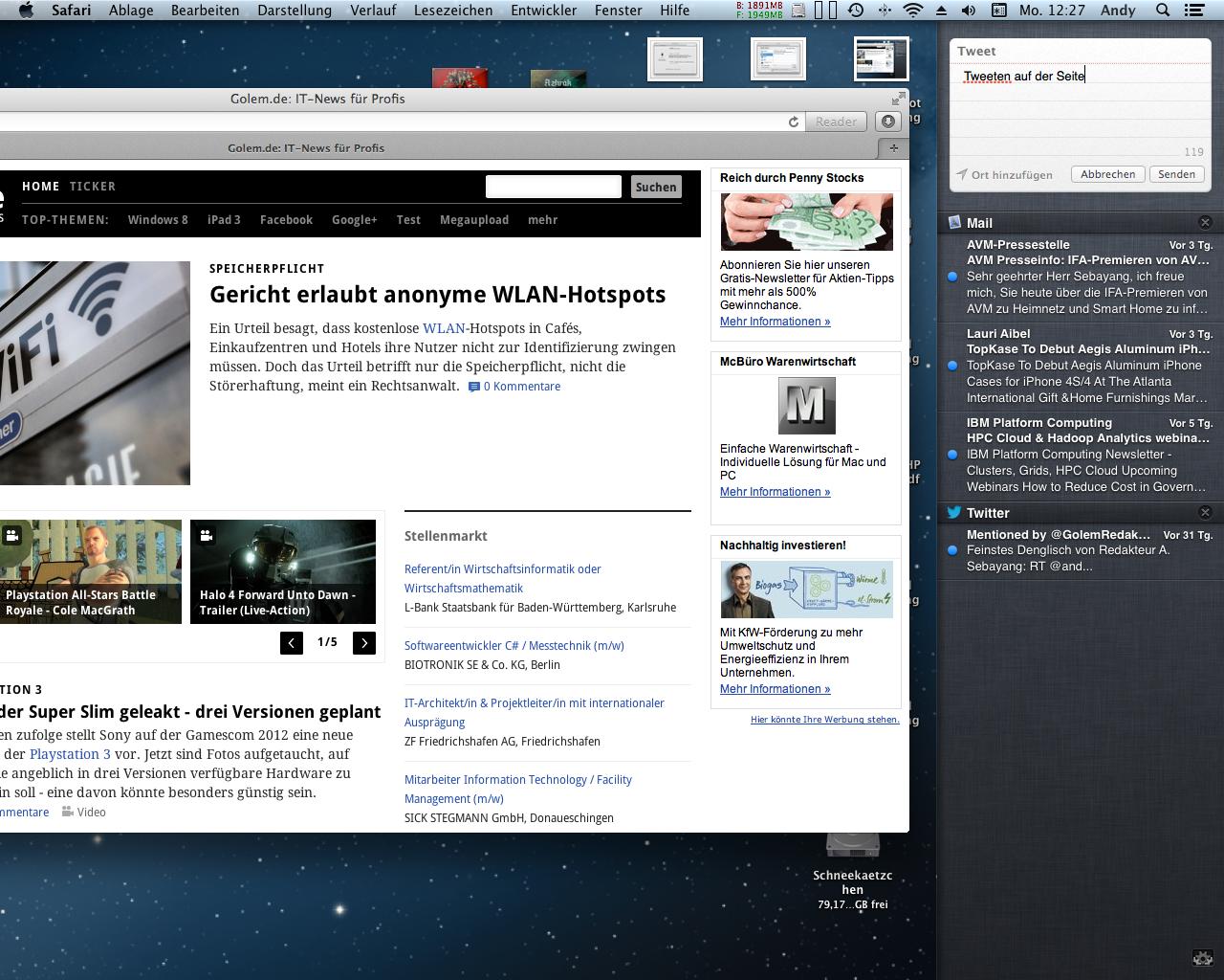 Mac OS X 10.8 Mountain Lion im Test: Apples Desktop-iOS mit komplizierter iCloud - Twitter ist direkt integriert.