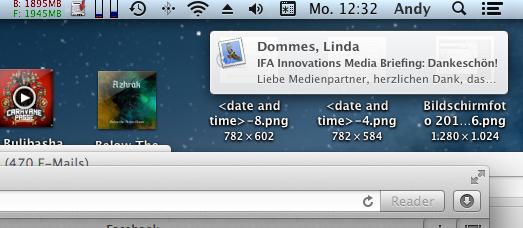 Mac OS X 10.8 Mountain Lion im Test: Apples Desktop-iOS mit komplizierter iCloud - Popup einer angekommen E-Mail.