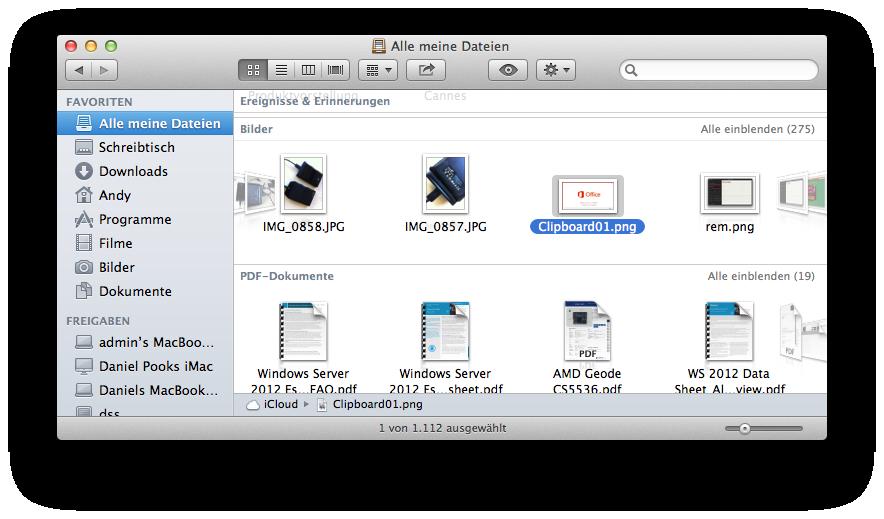 """Mac OS X 10.8 Mountain Lion im Test: Apples Desktop-iOS mit komplizierter iCloud - Wer die Statusleiste im Finder einblendet findet unter """"Alle meine Dateien"""" einen Hinweis auf die Nutzung der iCloud."""