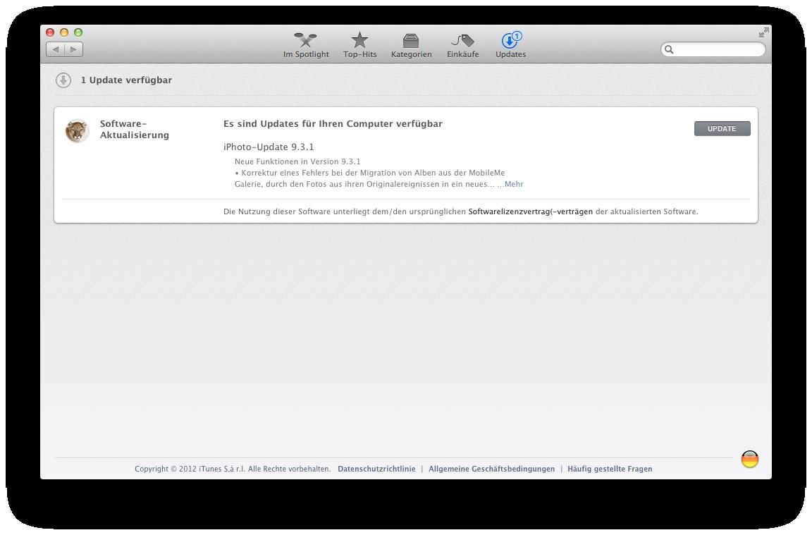 Mac OS X 10.8 Mountain Lion im Test: Apples Desktop-iOS mit komplizierter iCloud - Die Softwareaktualisierung ist nun Teil des Mac App Stores.