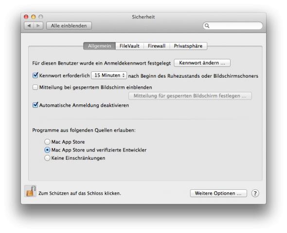 Gatekeeper-Optionen in der Standardeinstellung.