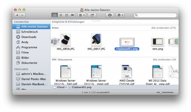 """Wer die Statusleiste im Finder einblendet findet unter """"Alle meine Dateien"""" einen Hinweis auf die Nutzung der iCloud."""