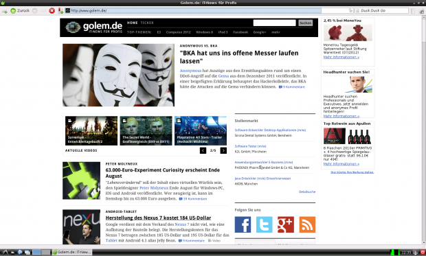 Standardmäßig hat Debian den Midori-Browser.