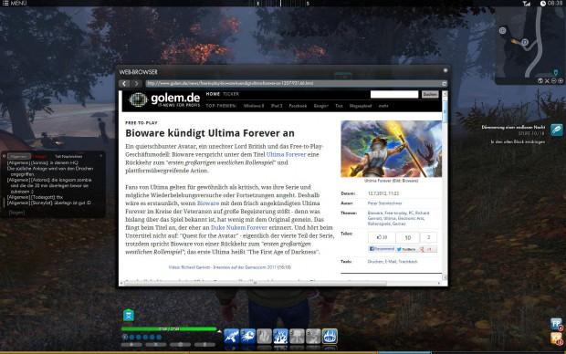 Direkt im Spiel gibt es per Browser einen einfachen Zugriffs aufs Internet.