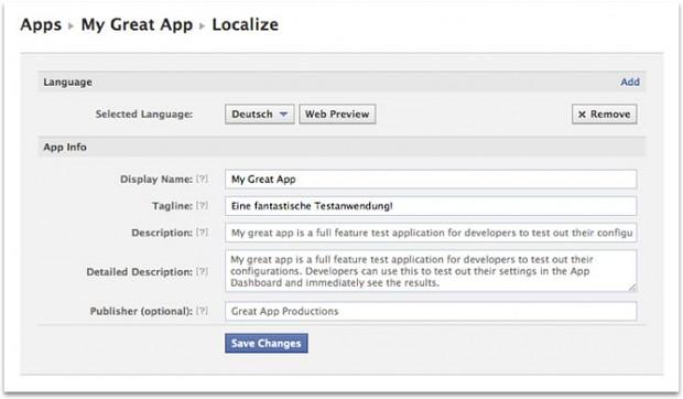 Facebook hat das App Dashboard um ein Localize-Tab erweitert. (Bild: Facebook)