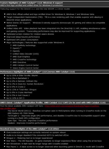 Die Änderungen in Catalyst 12.8 (Liste: AMD)