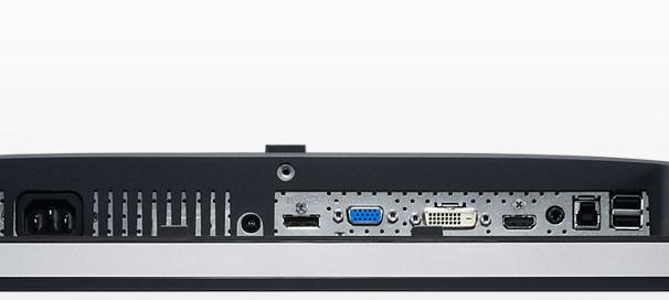 Anschlüsse des U2713HM an der Rückseite (Bilder: Dell)