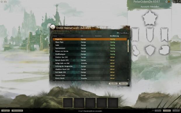 Vor der Charaktergenerierung steht die Wahl des Servers an.