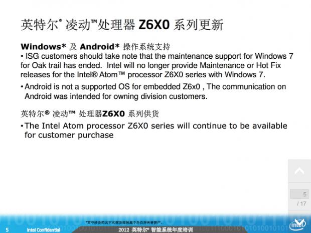 Atom Z6X0 wird nicht mehr unterstützt (Bild: Baidu)