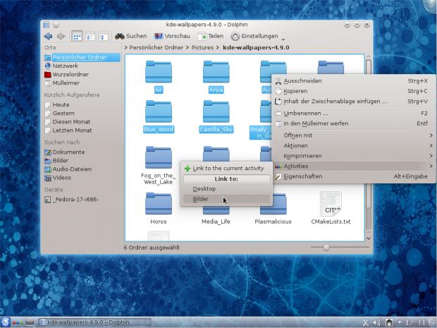 Dateien lassen sich mit Aktivitäten verknüpfen....