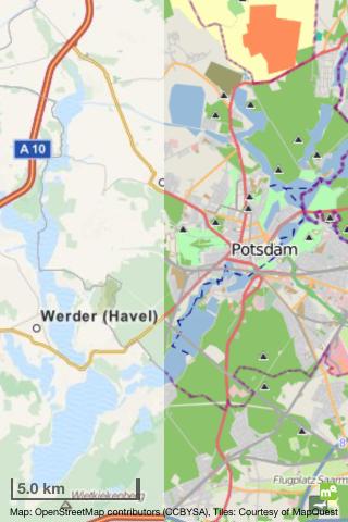 Offmaps mit neuer Kartendarstellung. Links sind Mapquest-Daten, rechts die alten Openstreetmap-Daten.