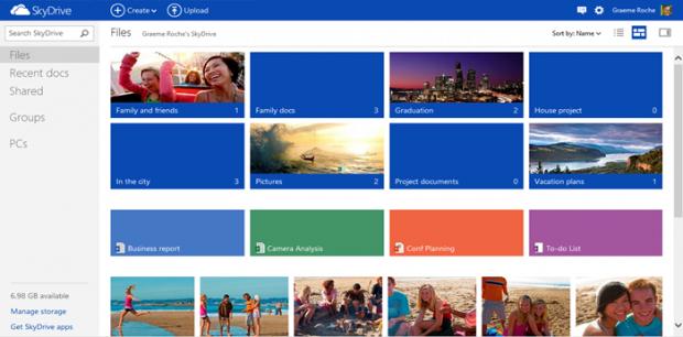 Kacheldarstellung in Skydrive.com (Bild: Microsoft)