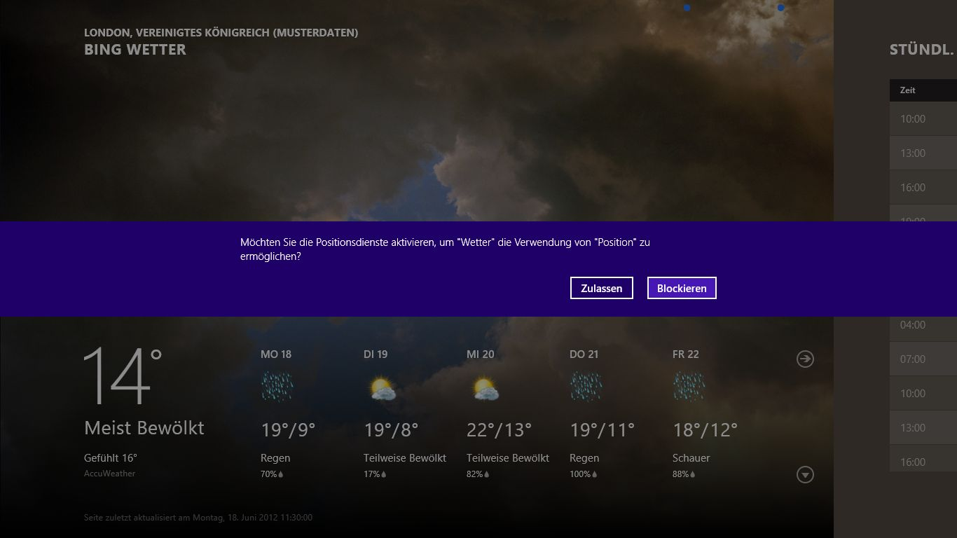Windows 8 im Test: Microsoft kachelt los und eckt an - Die Metro-App Bing Wetter will auf den aktuellen Ort zugreifen.