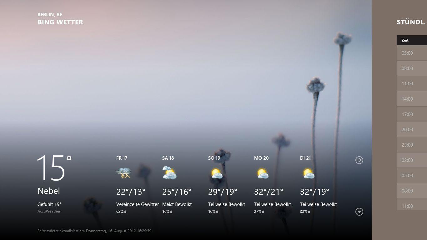 Windows 8 im Test: Microsoft kachelt los und eckt an - Die Metro-App Bing Wetter
