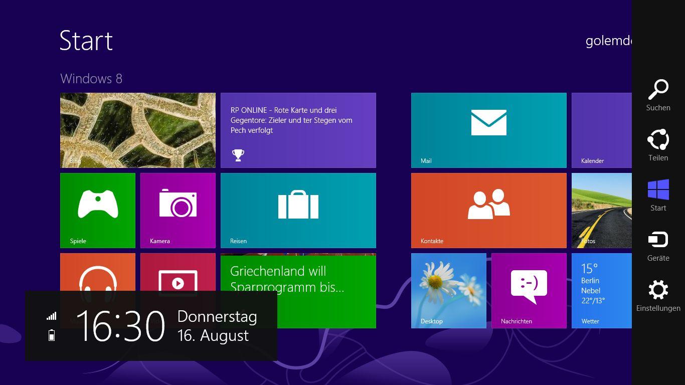 Windows 8 im Test: Microsoft kachelt los und eckt an - Die neun Charms von Windows 8 am rechten Rand