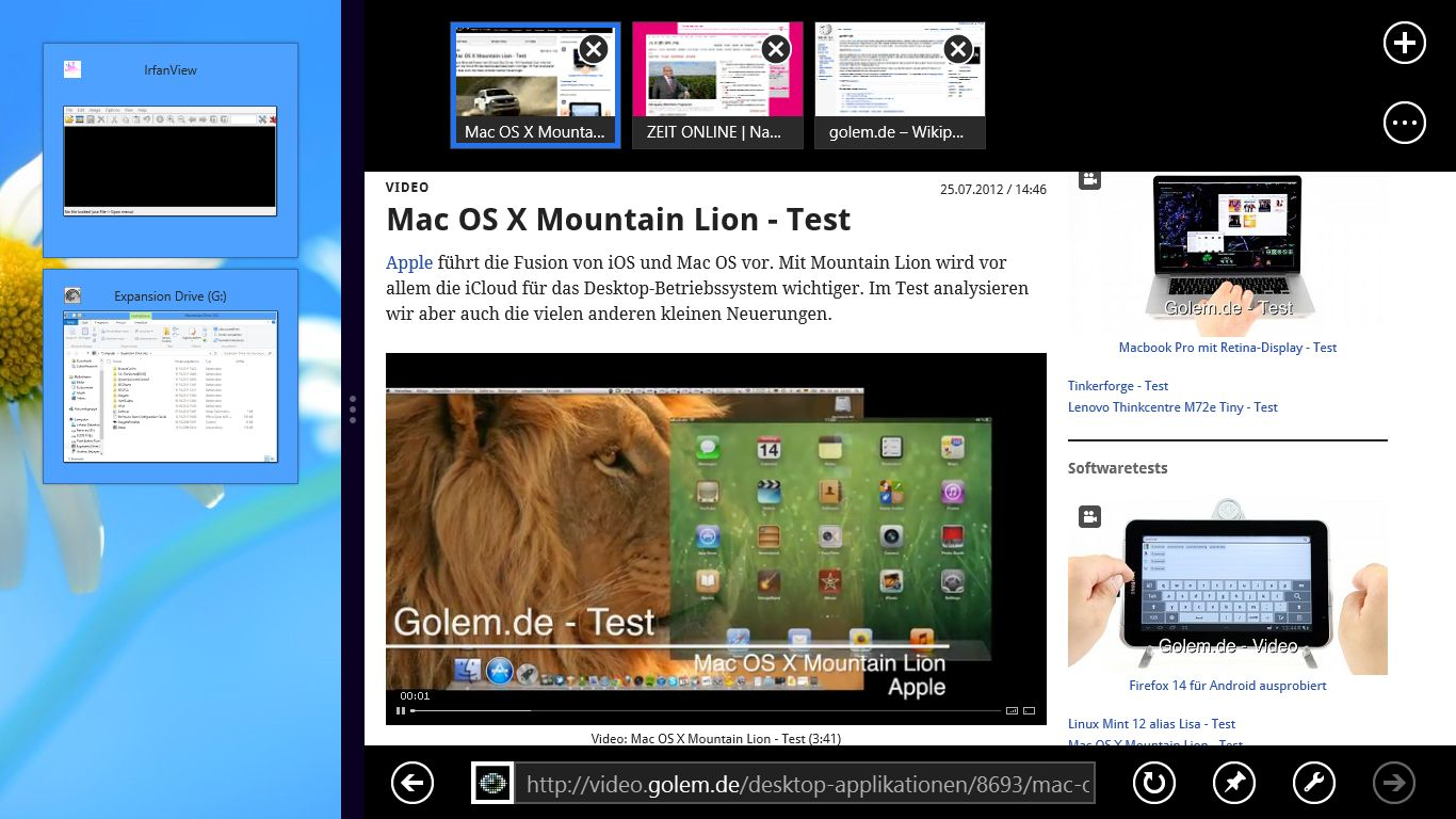 Windows 8 im Test: Microsoft kachelt los und eckt an - Windows Snap: Desktop link und Metro-IE rechts.