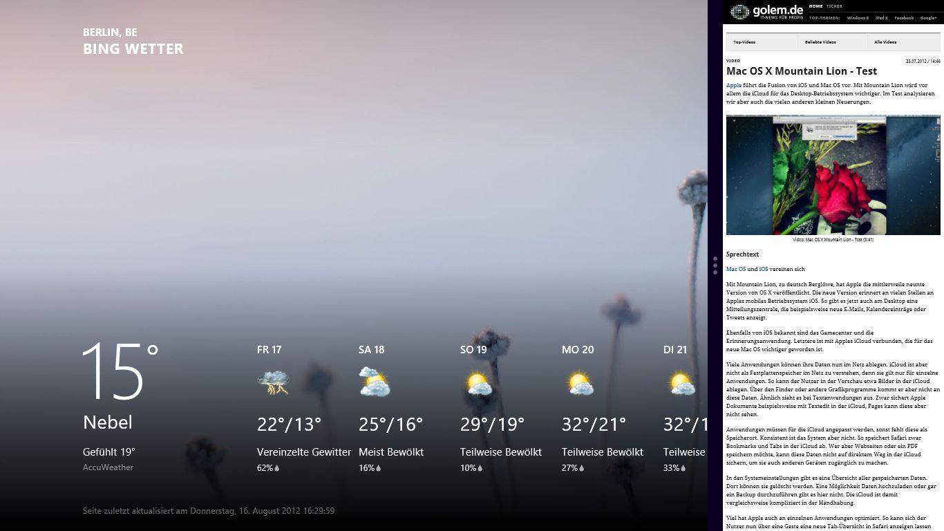 Windows 8 im Test: Microsoft kachelt los und eckt an - Wetter-App (links) und Browser (rechts)