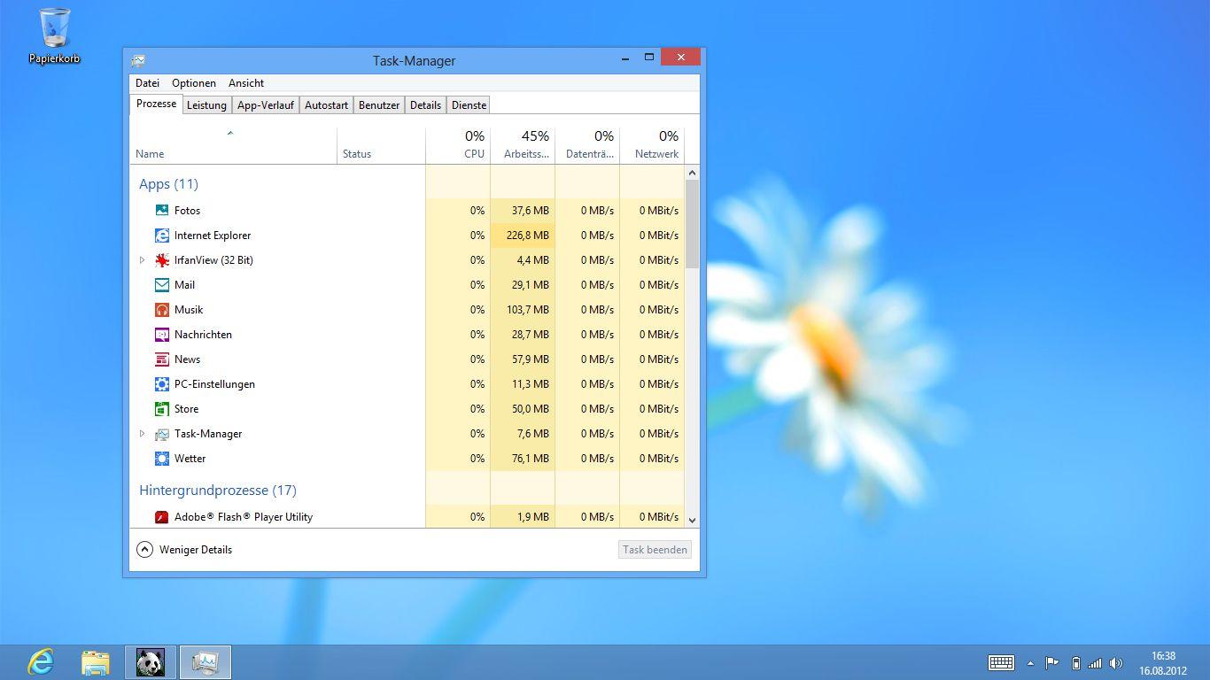Windows 8 im Test: Microsoft kachelt los und eckt an - Neu gestalteter Task-Manager von Windows 8