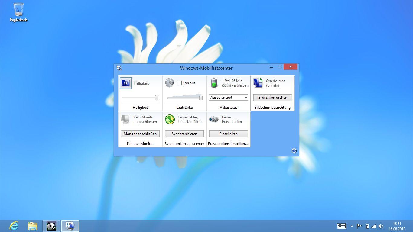 Windows 8 im Test: Microsoft kachelt los und eckt an - Das Mobility Center