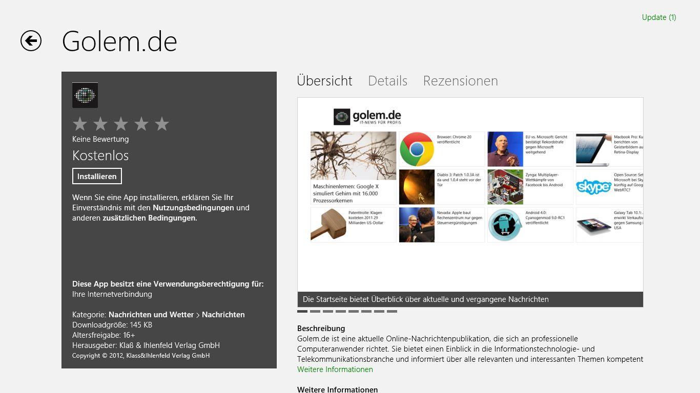 Windows 8 im Test: Microsoft kachelt los und eckt an - Die Golem.de-App im Windows Store