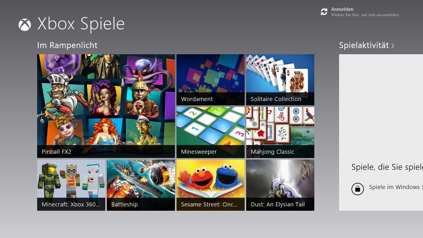 Windows 8 im Test: Microsoft kachelt los und eckt an - Xbox Spiele fasst alle Spiele zusammen.