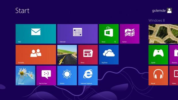 Der Startbildschirm von Windows 8