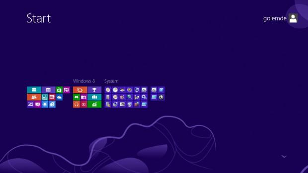 Der Startbildschirm von Windows 8 im Semantic Zoom