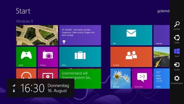 Die neun Charms von Windows 8 am rechten Rand
