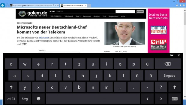 Virtuelle Tastatur auf dem Desktop. Sie kann über die Inhalte geblendet werden.