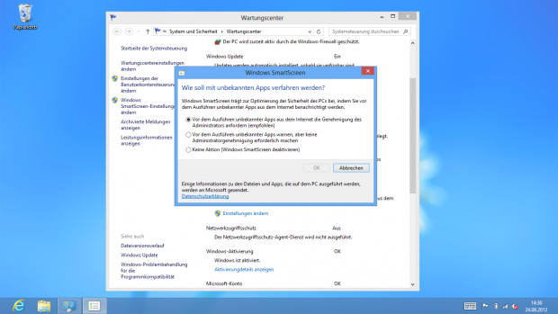 Smartscreen-Einstellungen in Windows 8 (Screenshot: Golem.de)