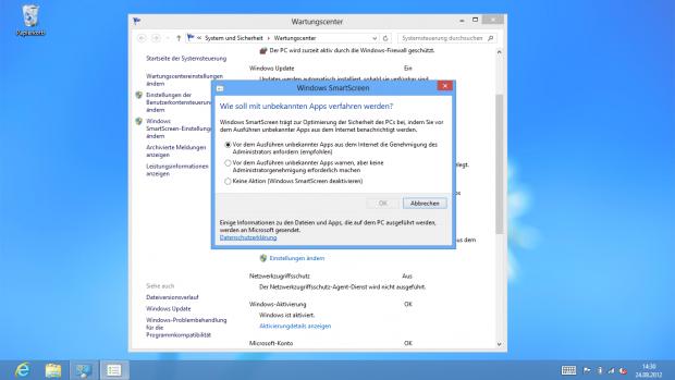 Smartscreen-Einstellungen in Windows 8 (Screenshot: Golem.de)