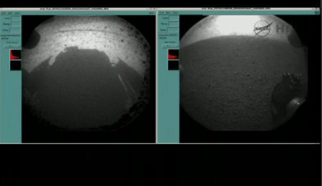 Touchdown: Curiosity ist auf dem Mars gelandet - Eines der ersten Bilder von Curiosity (Foto: Nasa)